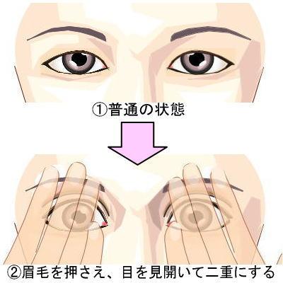 眉毛を押さえて二重まぶたにする方法